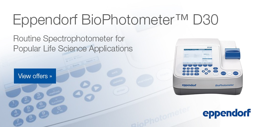 BioPhotometer D30, 230 V / 50- 60 Hz Product Image Routine Spectrophotometer for Popular Life Science Applications